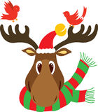Christmas Reindeer Head. A reindeer head with big nose wearing Christmas scarf with long big trunk, wearing Santa hat and birds hanging around. Each similar royalty free illustration