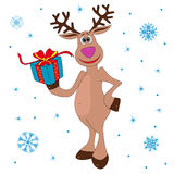 Christmas Reindeer holding a gift. Hand drawing cartoon vector illustration Stock Photo