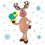 Christmas Reindeer holding a little sheep Royalty Free Stock Photos
