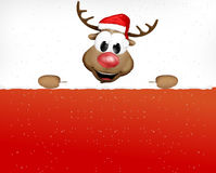 Christmas Reindeer holding sign Stock Photography
