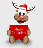 Christmas Reindeer holding sign Royalty Free Stock Photos