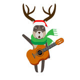 Christmas reindeer holds a guitar Stock Photography