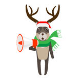 Christmas reindeer holds megaphone Royalty Free Stock Image