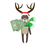 Christmas reindeer holds money Royalty Free Stock Photos