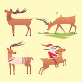Christmas reindeer holiday mammal deer xmas celebration cute decoration winter art new year wildlife animal and santa Royalty Free Stock Photography