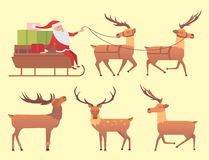 Christmas reindeer holiday mammal deer xmas celebration cute decoration winter art new year wildlife animal and santa Stock Images