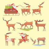 Christmas reindeer holiday mammal deer xmas celebration cute decoration winter art new year wildlife animal and santa Royalty Free Stock Photo