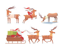 Christmas reindeer holiday mammal deer xmas celebration cute decoration winter art new year wildlife animal and santa Stock Image