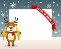 Christmas Reindeer Horizontal Frame Stock Photography