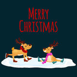 Christmas reindeer with horns and scarf skates on ice fun and happily spending time on the eve of New Year holiday Stock Photography