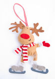 Christmas Reindeer on ice skates. Stock Images