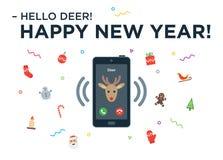 Christmas Reindeer incoming phone call with Stock Photo