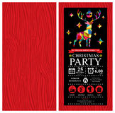 Christmas reindeer Invitation Card. This is Christmas party invitation card design. Vector file Stock Photos
