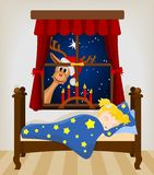 Christmas reindeer looking through window at baby Royalty Free Stock Images