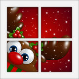 Christmas reindeer looking by the window Royalty Free Stock Photos