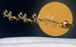 Christmas Reindeer Mulberry Paper. Cutting on the moon background stock illustration
