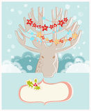 Christmas reindeer New Year greeting card Stock Photography