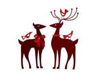 Christmas reindeer with nordic birds Stock Images