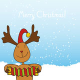 Christmas reindeer playing the accordion Stock Images