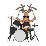 Christmas reindeer plays drums Stock Image