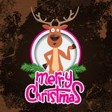 Christmas reindeer pointing at something in a circle. Merry christmas calligraphy. Old paper and Grunge effect with Royalty Free Stock Photos