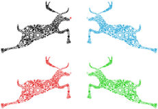 Christmas Reindeer Red Blue Green Snowflakes Royalty Free Stock Photography