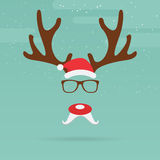 Christmas reindeer with red nose template in flat design. Stock Image