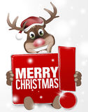 Christmas Reindeer red sign with exclamation mark Royalty Free Stock Photo