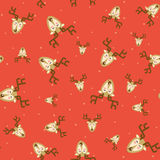 Christmas reindeer repetitive print. Vector xmas deer holiday se. Amless pattern design. Celebration repeating background. Seasonal texture for wrapping paper vector illustration