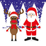 Christmas reindeer and Santa Claus Stock Photos