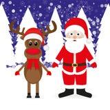 Christmas reindeer and Santa Claus Stock Photos