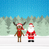 Christmas reindeer and Santa Claus Stock Photography