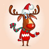 Christmas reindeer in Santa Claus hat and striped scarf pointing a hand. Vector illustration isolated. Stock Photo