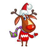 Christmas reindeer in Santa Claus hat and striped scarf pointing a hand. Vector illustration isolated on white. Stock Images