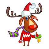Christmas reindeer in Santa Claus hat and striped scarf pointing a hand. Vector illustration isolated on white Stock Images