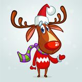 Christmas reindeer in Santa Claus hat and striped scarf pointing a hand. Vector illustration on snowy background. Stock Images