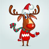 Christmas reindeer in Santa Claus hat and striped scarf pointing a hand. Vector illustration on snowy background. Royalty Free Stock Photo