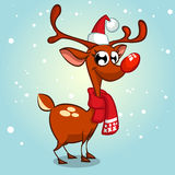 Christmas reindeer in Santa Claus hat vector illustration on snowy background Stock Photo
