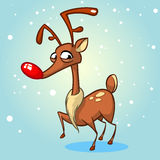 Christmas reindeer in Santa Claus hat vector illustration on snowy background Stock Images
