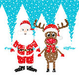 Christmas reindeer and Santa Claus Royalty Free Stock Image