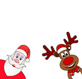 Christmas reindeer and Santa Claus Stock Images
