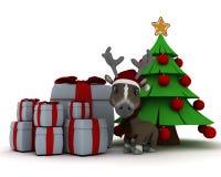 Christmas reindeer in santa hat Stock Photos