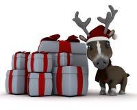 Christmas reindeer in santa hat Stock Images