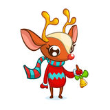 Christmas reindeer in Santa hat ringing a bell. Vector illustration isolated Royalty Free Stock Photography