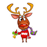 Christmas reindeer in Santa hat ringing a bell. Vector illustration isolated. Royalty Free Stock Photo
