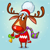 Christmas reindeer red nose rudolph in Santa hat ringing a bell. Vector illustration  on snowy background. Christmas reindeer in Santa hat ringing a bell. Vector Royalty Free Stock Image