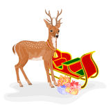 Christmas Reindeer with Santa's sleigh and gifts vector Stock Photo