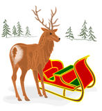 Christmas Reindeer with Santa sleigh vector Stock Images