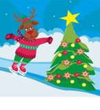 Christmas reindeer with scarf skates - card. Christmas reindeer with scarf skates, Vector Illustration Royalty Free Stock Photography