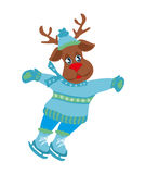 Christmas reindeer with scarf skates on ice Royalty Free Stock Photo